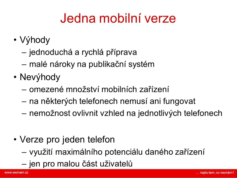 Jedna mobilní verze Výhody Nevýhody Verze pro jeden telefon