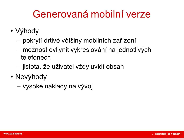 Generovaná mobilní verze