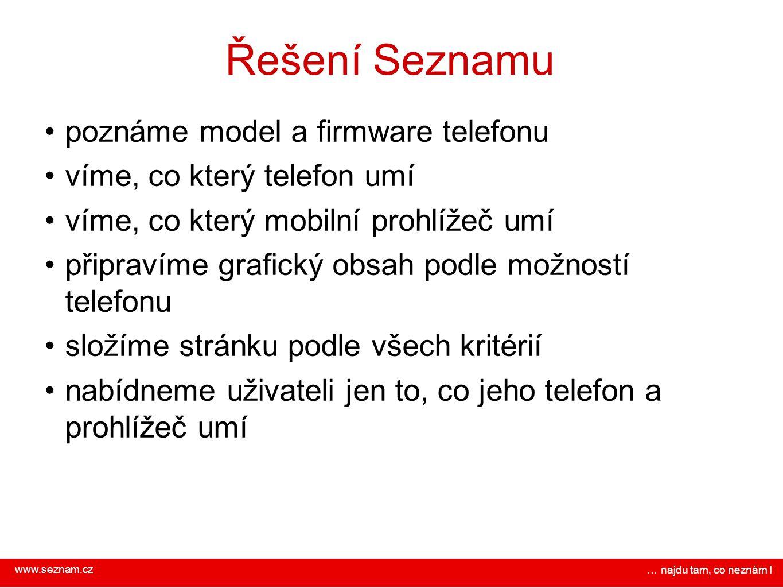 Řešení Seznamu poznáme model a firmware telefonu