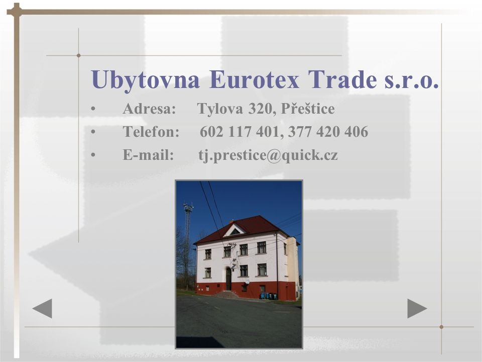 Ubytovna Eurotex Trade s.r.o.