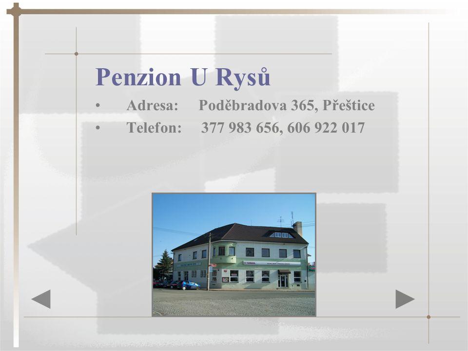 Penzion U Rysů Adresa: Poděbradova 365, Přeštice