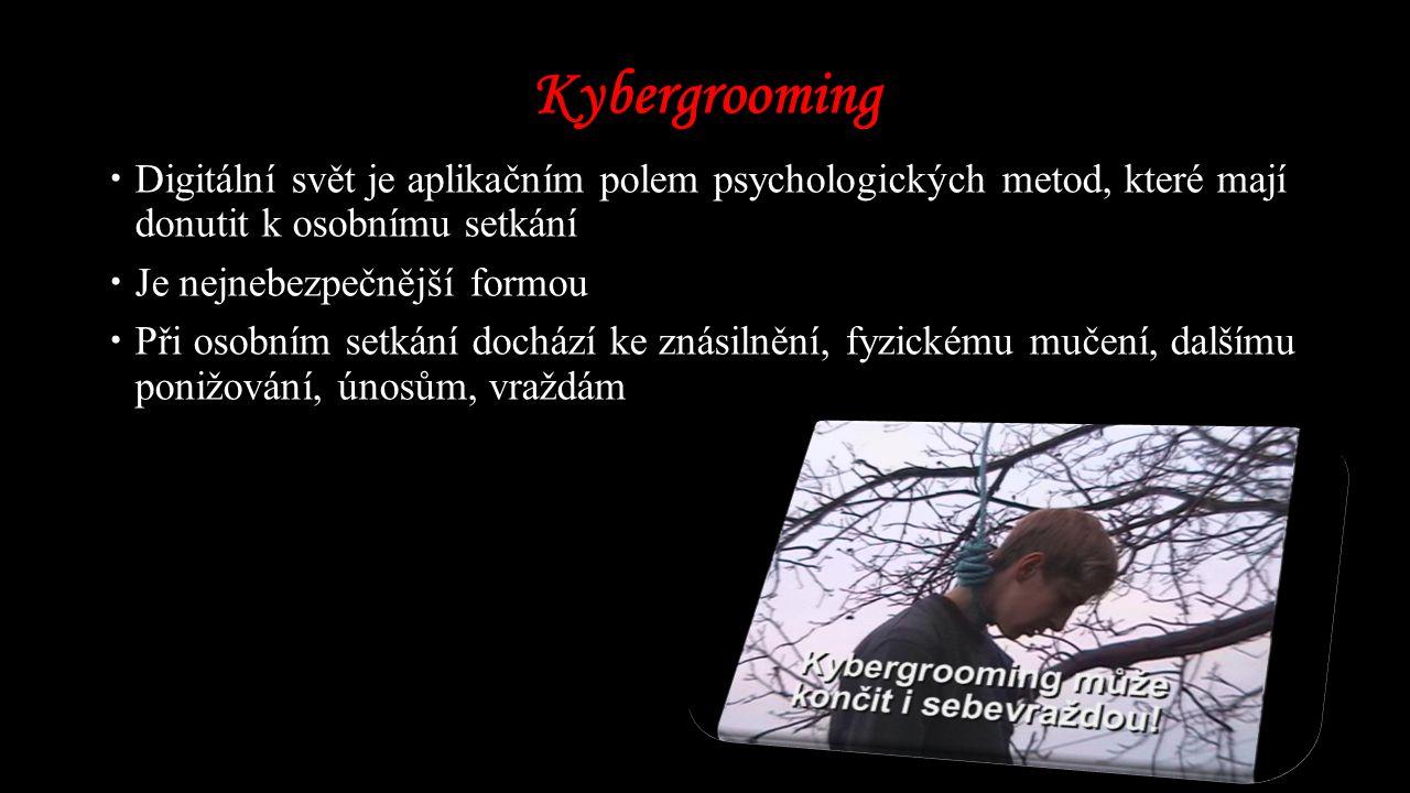 Kybergrooming Digitální svět je aplikačním polem psychologických metod, které mají donutit k osobnímu setkání.