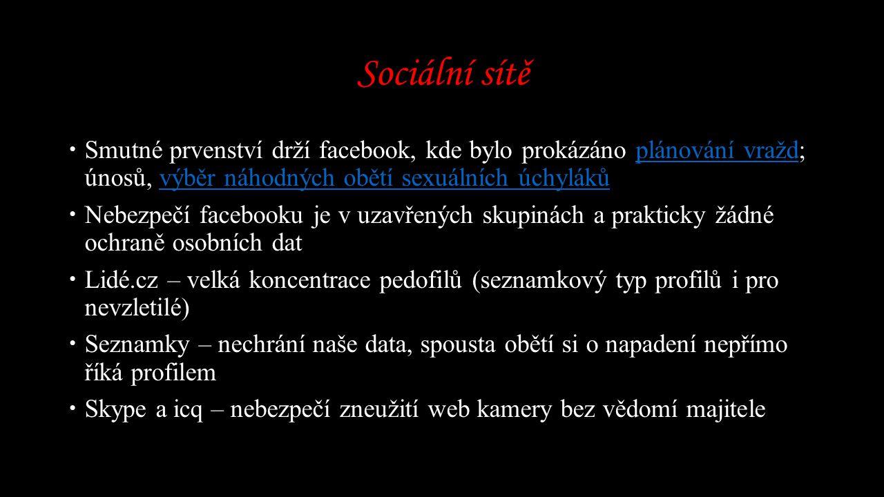 Sociální sítě Smutné prvenství drží facebook, kde bylo prokázáno plánování vražd; únosů, výběr náhodných obětí sexuálních úchyláků.