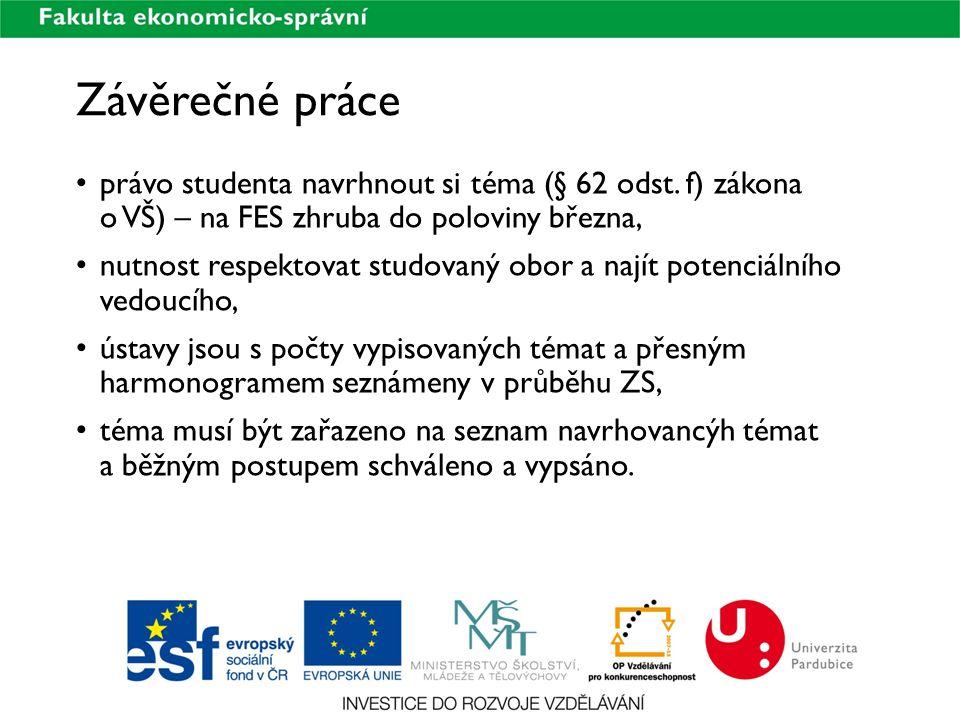 Závěrečné práce právo studenta navrhnout si téma (§ 62 odst. f) zákona o VŠ) – na FES zhruba do poloviny března,