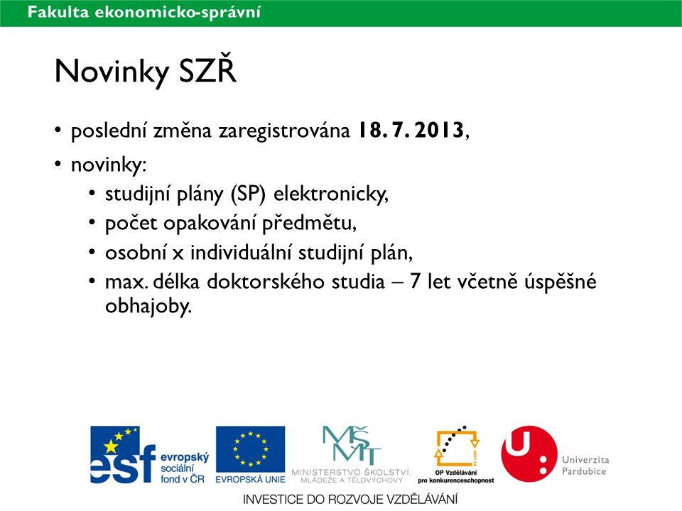 Novinky SZŘ poslední změna zaregistrována 18. 7. 2013, novinky: