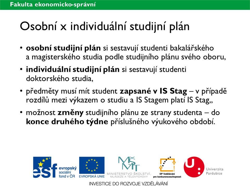 Osobní x individuální studijní plán
