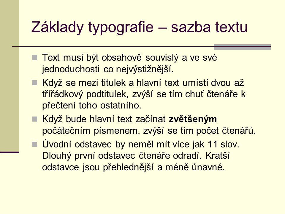 Základy typografie – sazba textu