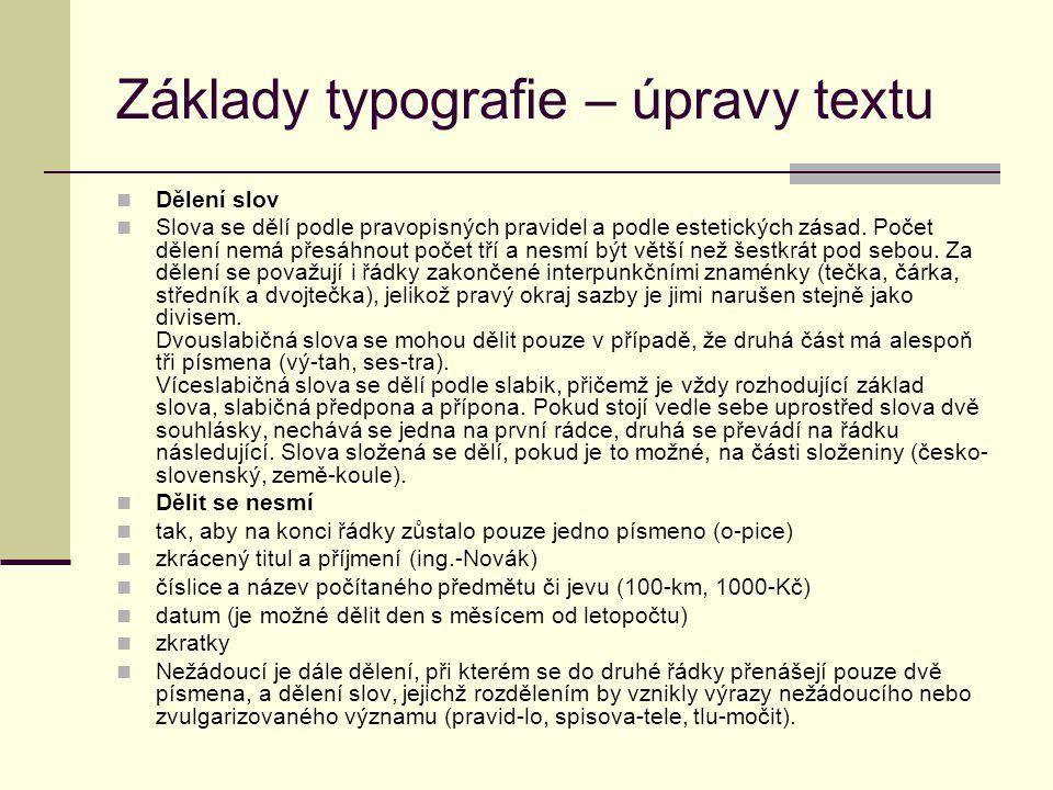 Základy typografie – úpravy textu