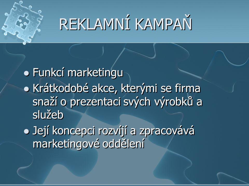 REKLAMNÍ KAMPAŇ Funkcí marketingu