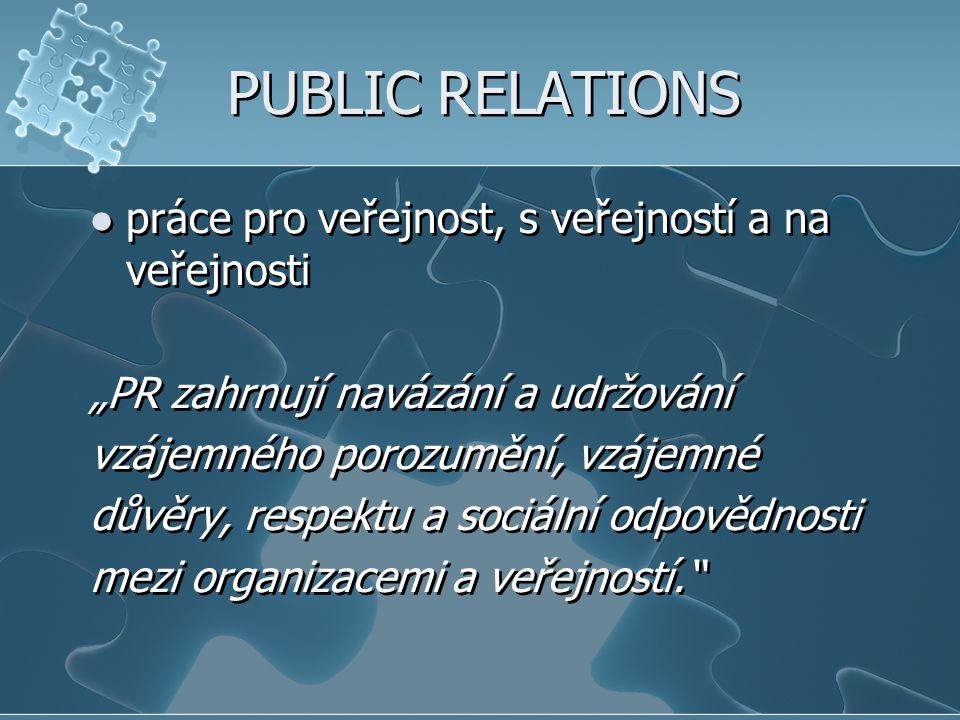 PUBLIC RELATIONS práce pro veřejnost, s veřejností a na veřejnosti
