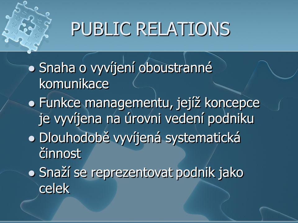 PUBLIC RELATIONS Snaha o vyvíjení oboustranné komunikace