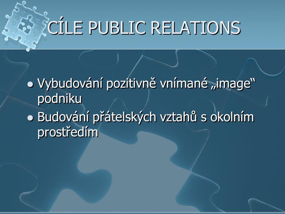 """CÍLE PUBLIC RELATIONS Vybudování pozitivně vnímané """"image podniku"""