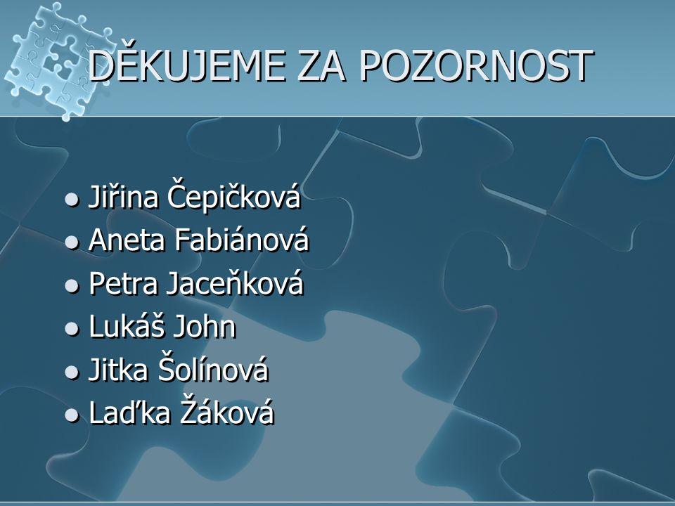 DĚKUJEME ZA POZORNOST Jiřina Čepičková Aneta Fabiánová Petra Jaceňková