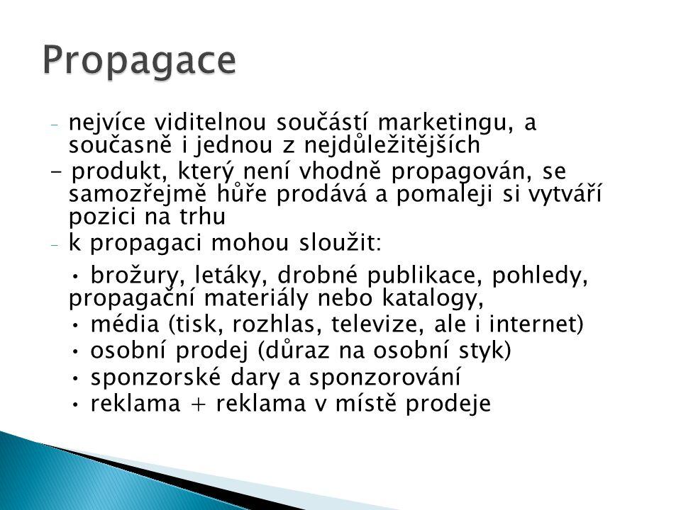 Propagace nejvíce viditelnou součástí marketingu, a současně i jednou z nejdůležitějších.