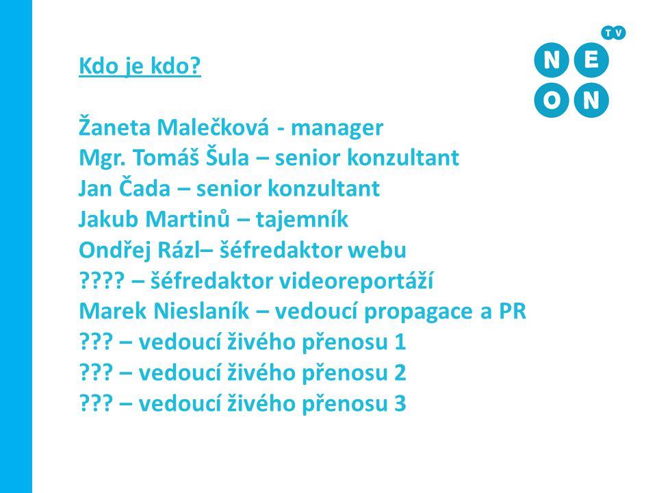Kdo je kdo Žaneta Malečková - manager. Mgr. Tomáš Šula – senior konzultant. Jan Čada – senior konzultant.