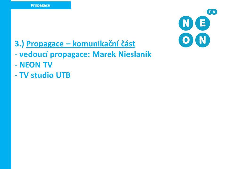 3.) Propagace – komunikační část vedoucí propagace: Marek Nieslaník