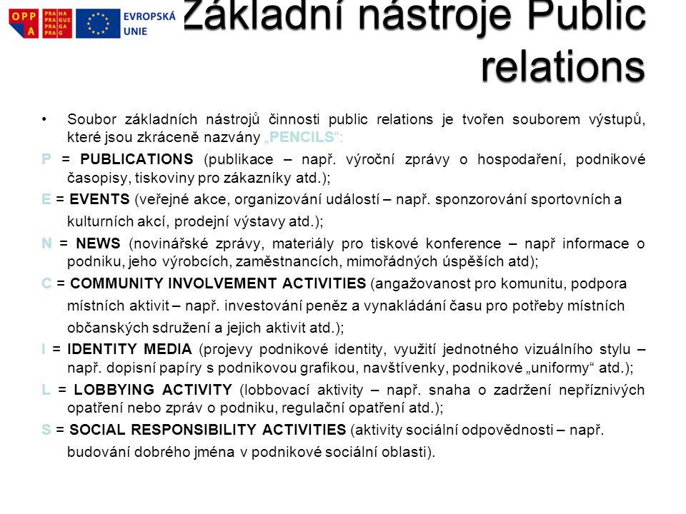 Základní nástroje Public relations
