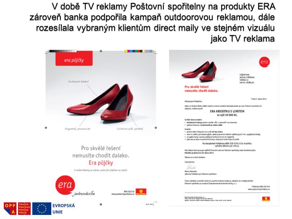 V době TV reklamy Poštovní spořitelny na produkty ERA zároveň banka podpořila kampaň outdoorovou reklamou, dále rozesílala vybraným klientům direct maily ve stejném vizuálu jako TV reklama