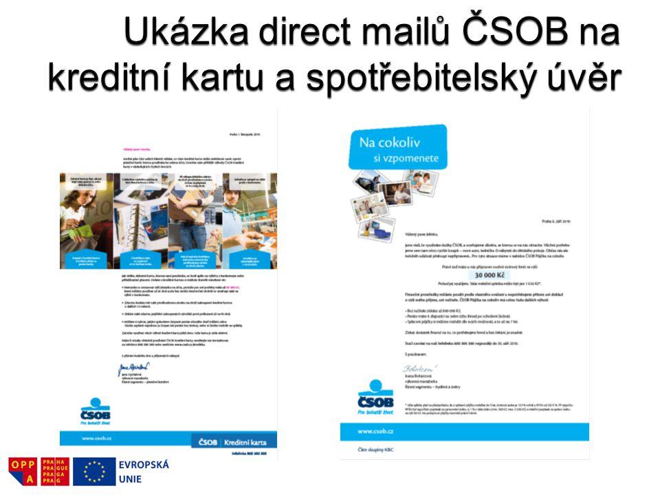 Ukázka direct mailů ČSOB na kreditní kartu a spotřebitelský úvěr