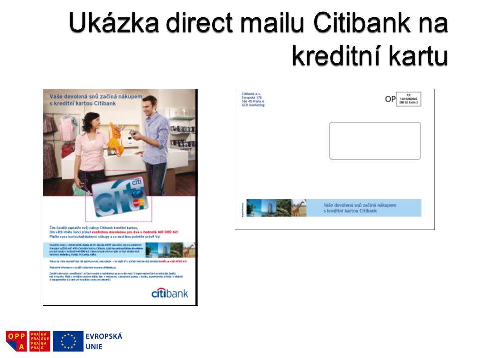 Ukázka direct mailu Citibank na kreditní kartu
