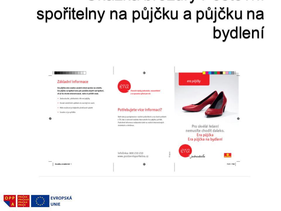Ukázka brožury Poštovní spořitelny na půjčku a půjčku na bydlení