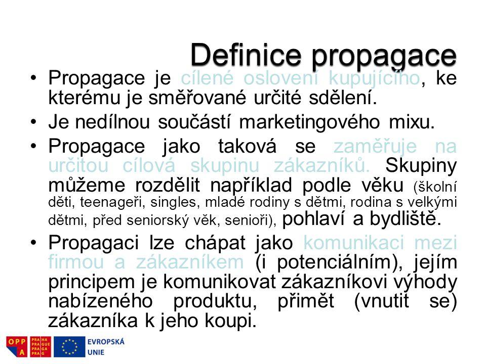 Definice propagace Propagace je cílené oslovení kupujícího, ke kterému je směřované určité sdělení.
