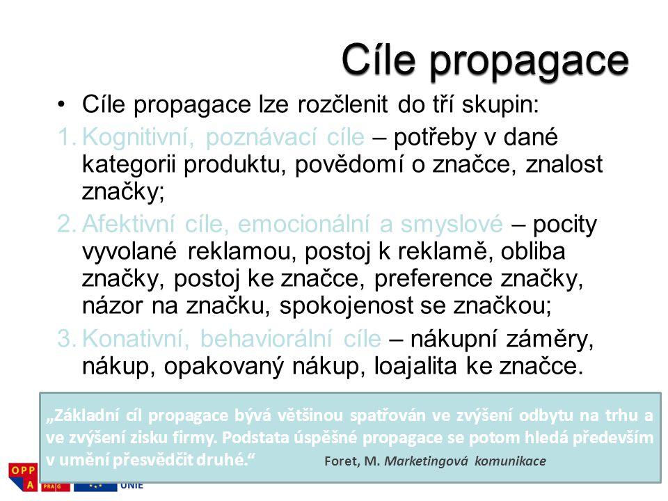 Cíle propagace Cíle propagace lze rozčlenit do tří skupin:
