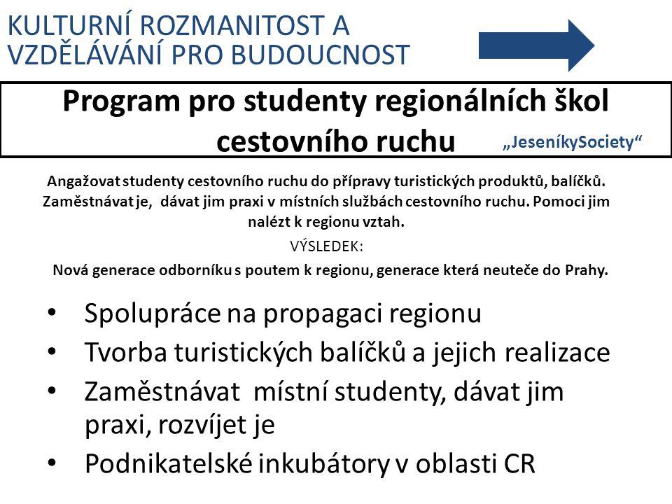 Program pro studenty regionálních škol cestovního ruchu