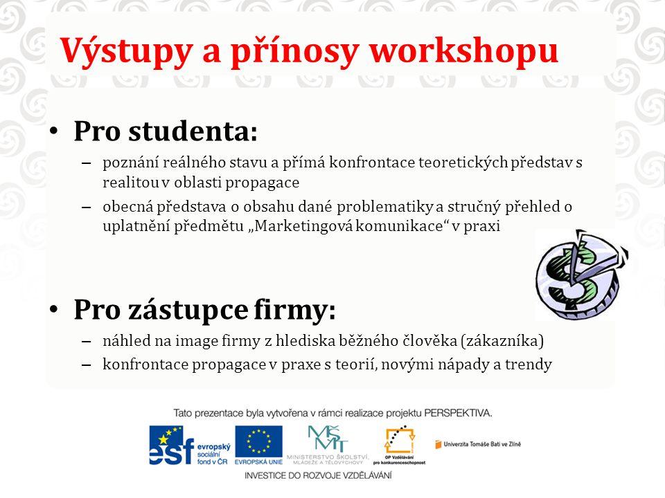 Výstupy a přínosy workshopu