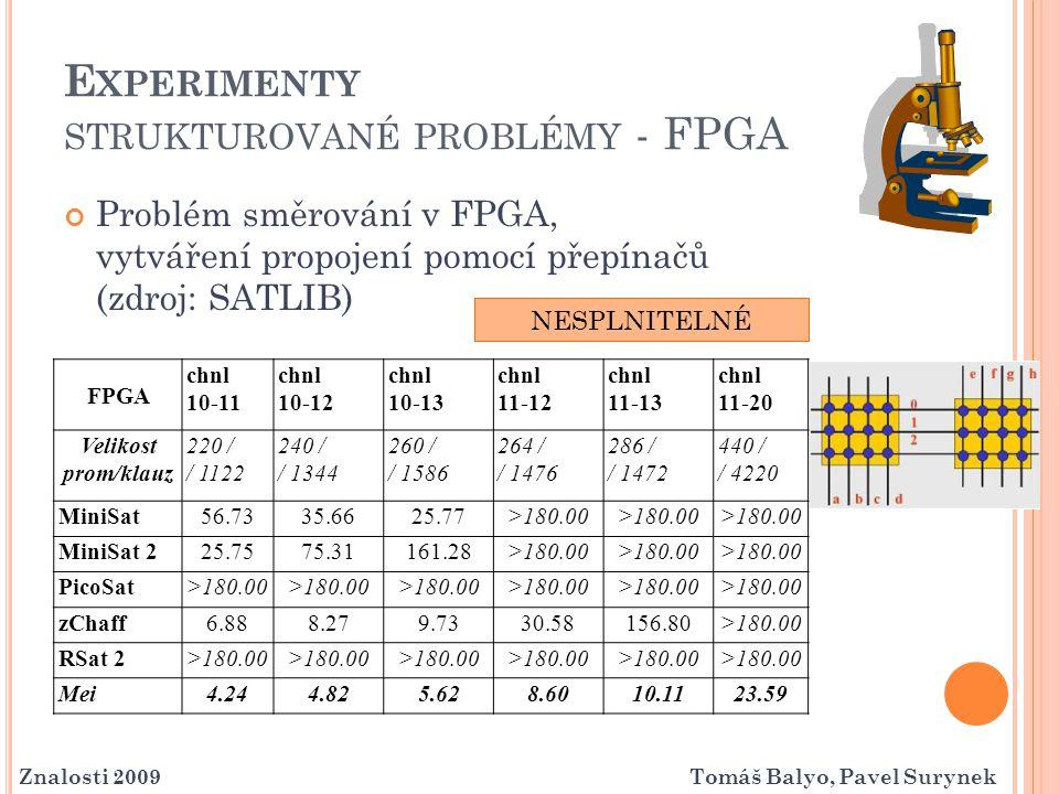 Experimenty strukturované problémy - FPGA