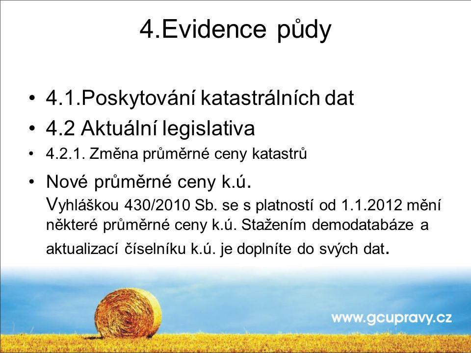 4.Evidence půdy 4.1.Poskytování katastrálních dat