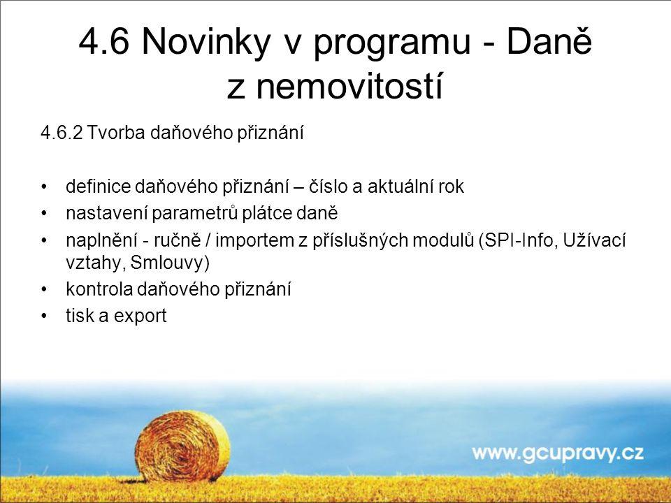 4.6 Novinky v programu - Daně z nemovitostí