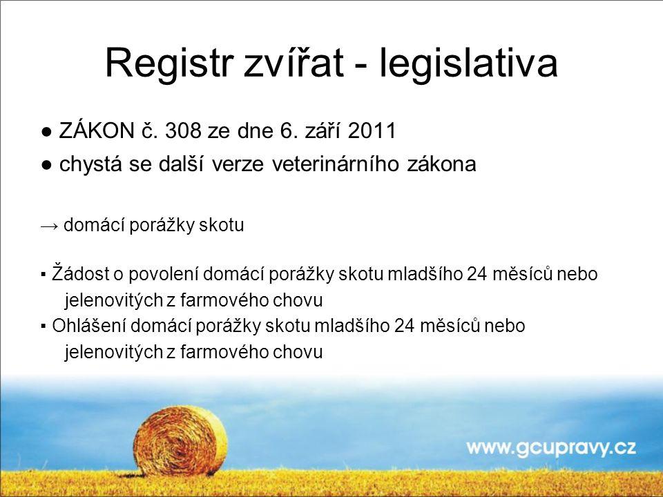 Registr zvířat - legislativa