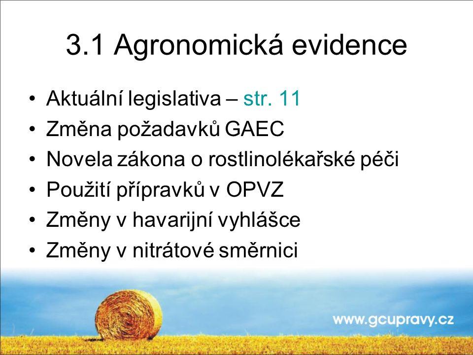 3.1 Agronomická evidence Aktuální legislativa – str. 11