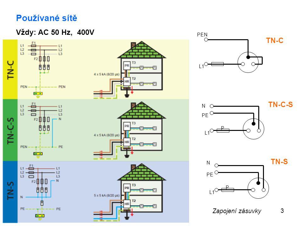 Používané sítě Vždy: AC 50 Hz, 400V TN-C TN-C-S TN-S Zapojení zásuvky