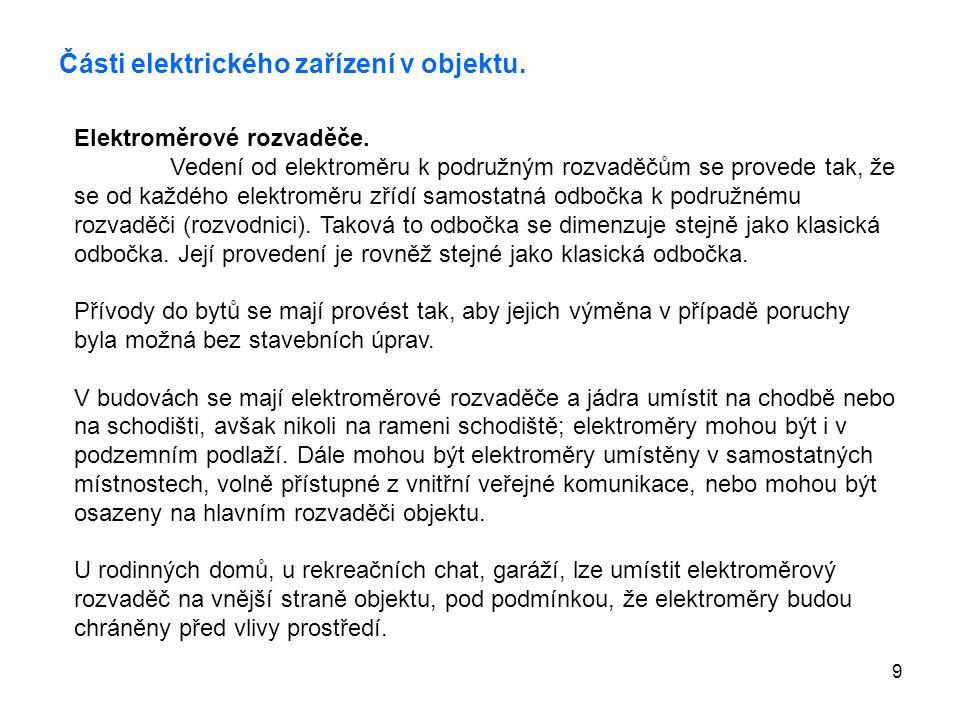 Části elektrického zařízení v objektu.