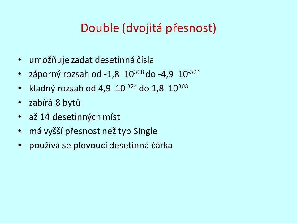Double (dvojitá přesnost)