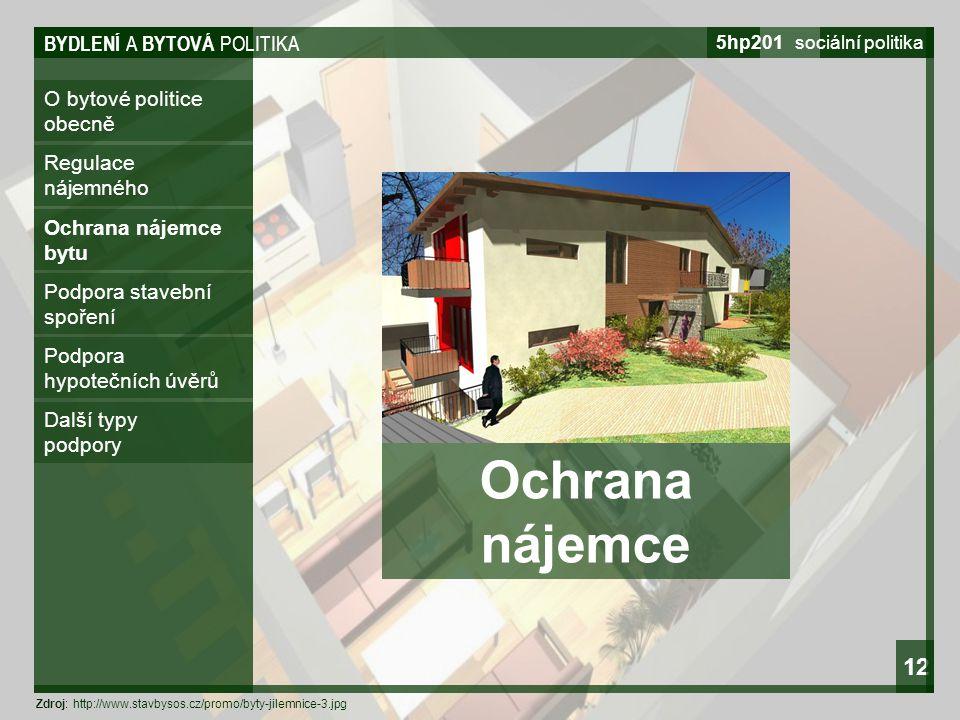 Ochrana nájemce 12 BYDLENÍ A BYTOVÁ POLITIKA O bytové politice obecně