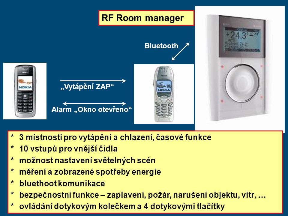 RF Room manager * 3 místnosti pro vytápění a chlazení, časové funkce