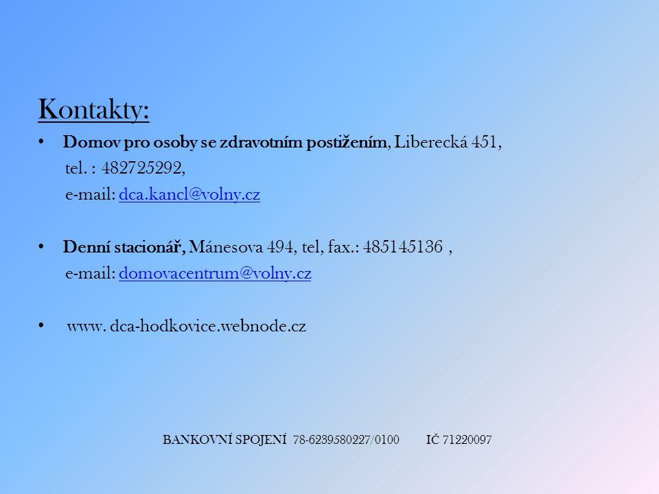 Kontakty: Domov pro osoby se zdravotním postižením, Liberecká 451,
