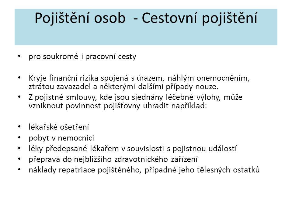 Pojištění osob - Cestovní pojištění
