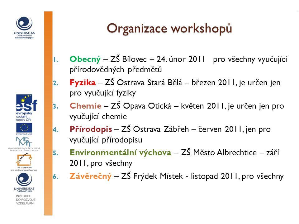 Organizace workshopů Obecný – ZŠ Bílovec – 24. únor 2011 pro všechny vyučující přírodovědných předmětů.