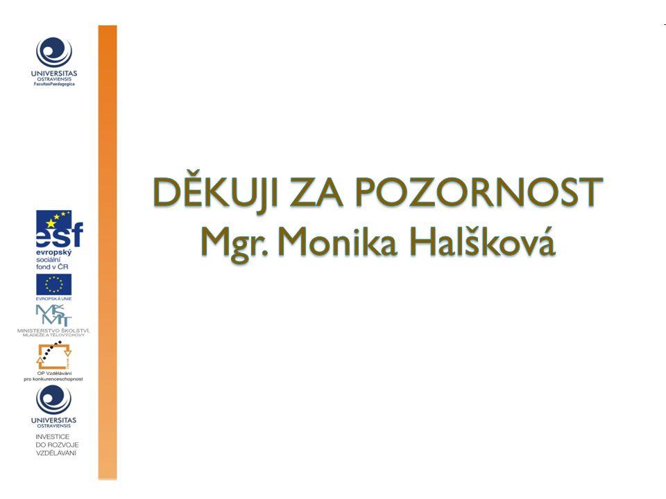 děkuji za pozornost Mgr. Monika Halšková