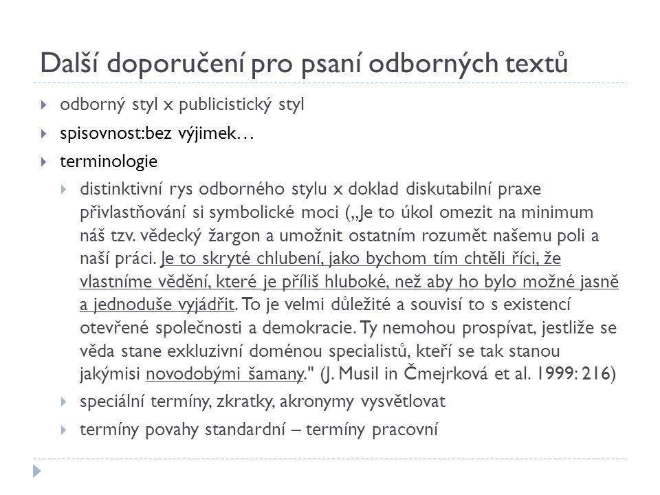 Další doporučení pro psaní odborných textů