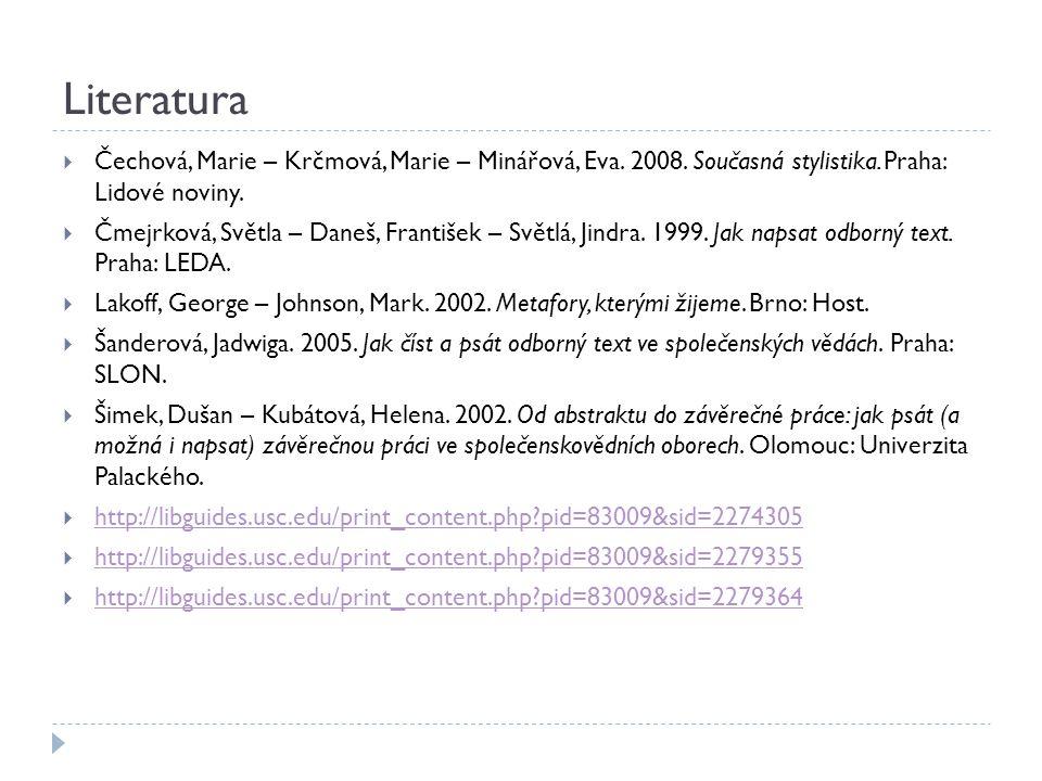 Literatura Čechová, Marie – Krčmová, Marie – Minářová, Eva. 2008. Současná stylistika. Praha: Lidové noviny.