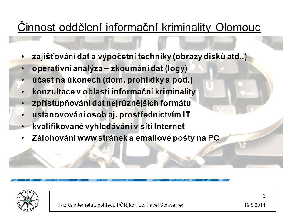 Činnost oddělení informační kriminality Olomouc