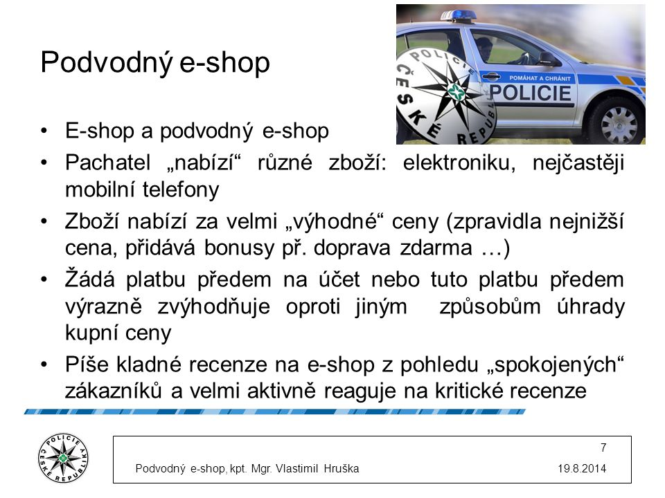 Podvodný e-shop E-shop a podvodný e-shop