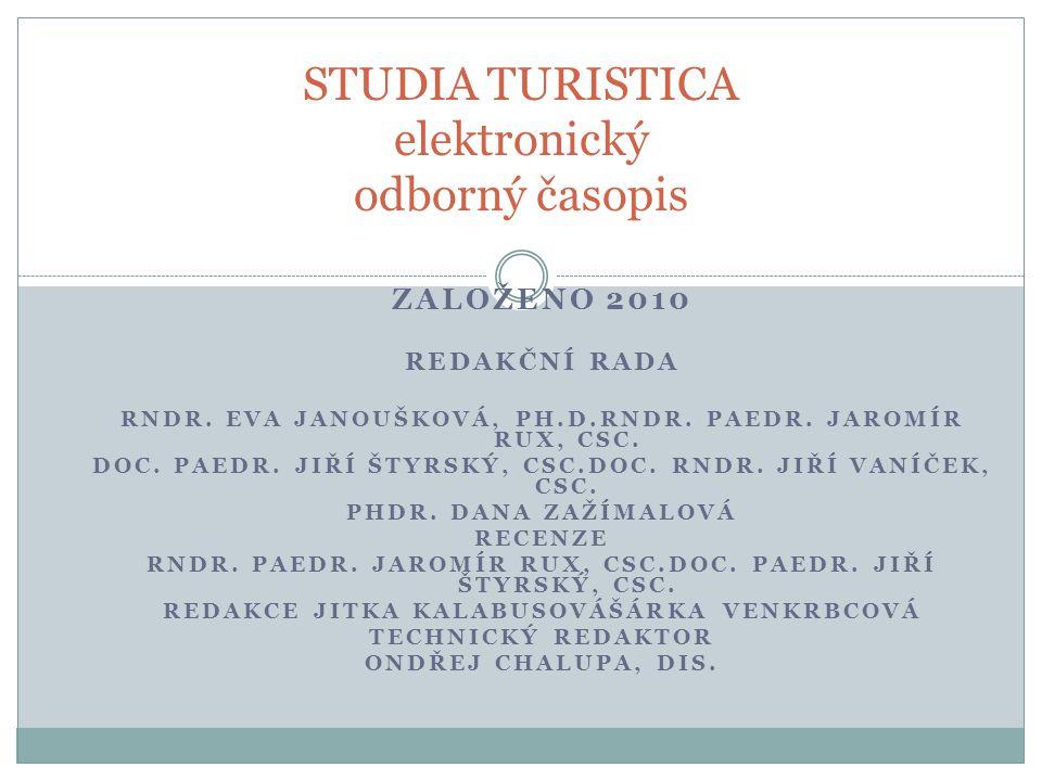 STUDIA TURISTICA elektronický odborný časopis