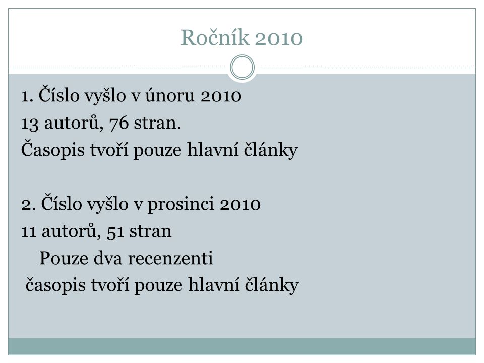 Ročník 2010 1. Číslo vyšlo v únoru 2010 13 autorů, 76 stran.
