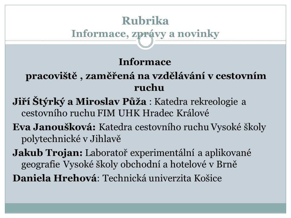 Rubrika Informace, zprávy a novinky